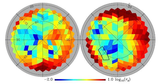 """На карте """"Планка"""" отмечены участки с максимальной и минимальной степенью запылённости, от красного до синего, соответственно (иллюстрация коллаборации """"Планка"""")."""