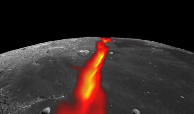 Ещё один раскол, ныне потерянный, на границе с Морем Холода к северу от Океана Бурь (фото NASA/Colorado School of Mines/MIT/JPL/Goddard Space Flight Center).