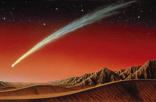Яркая комета пролетит над Марсом 19 октября 2014 года (иллюстрация Kim Poor).