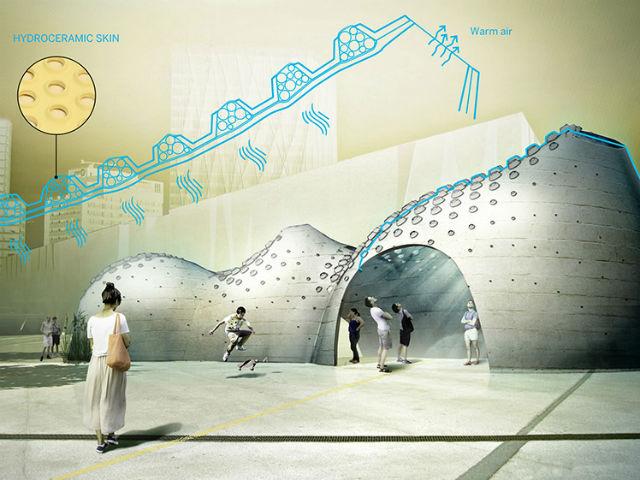 Проект зданий будущего с использованием охлаждающего гидрогеля в стенах (фото IAAC Hydroceramic project).