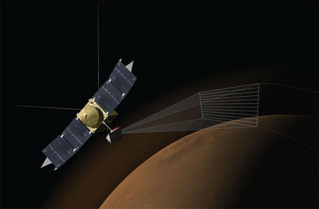 """Зонды """"спрятались"""" за Марсом, чтобы провести максимально безопасные наблюдения (иллюстрация NASA)."""