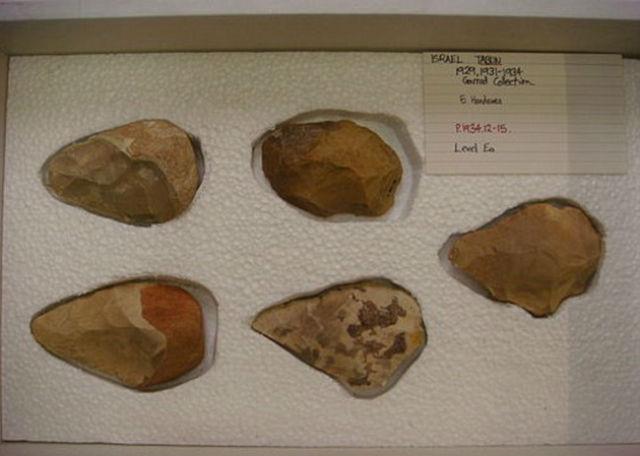 Наконечники орудий труда и оружия, которые использовались обитателями пещеры Табун в разные периоды ранней истории человечества (фото Wikimedia Commons).