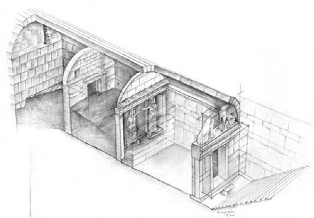 Схема гробницы. В преддверии погребальной комнаты были найдены мраморные кариатиды, исполняющие роль колонн, а также пара безглавых и бескрылых сфинксов (фото Greek Culture Ministry).