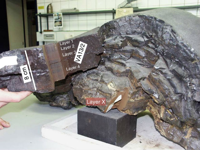 Этот кусок железо-марганцевой коры был поднят со дна Тихого океана с глубины 4830 метров в 1976 году, а сейчас стал источником информации о взрывах сверхновых (фото A. Wallner et al.).