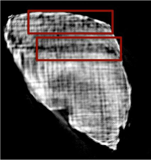 Слова на скрытом фрагменте свитка удалось увидеть благодаря рентгену (фото Mocella et al. Nature Communications).