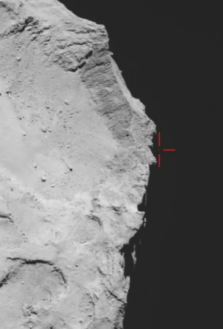 Изображение отскочившего от поверхности модуля (фото ESA/Rosetta/MPS for OSIRIS Team MPS/UPD/LAM/IAA/SSO/INTA/UPM/DASP/IDA).