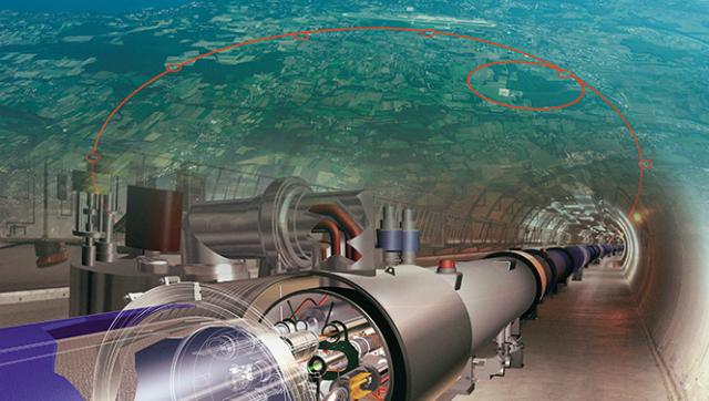 Длина основного кольца БАК составляет 26,6 километров, а расположен он на границе Швейцарии и Франции (иллюстрация CERN).