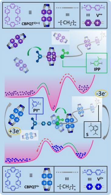 Химические реакции приводят насос в действие и заставляет молекулы пересекать энергетический барьер (иллюстрация Northwestern University).