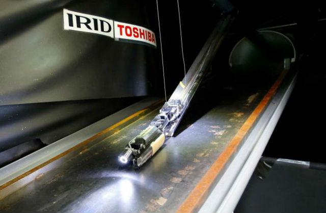 Во время демонстрации возможностей в лаборатории близ Токио, робот съехал вниз по металлической конструкции, вытянувшись в прямую линию (фото Shizuo Kambayashi/сайт timesunion.com).