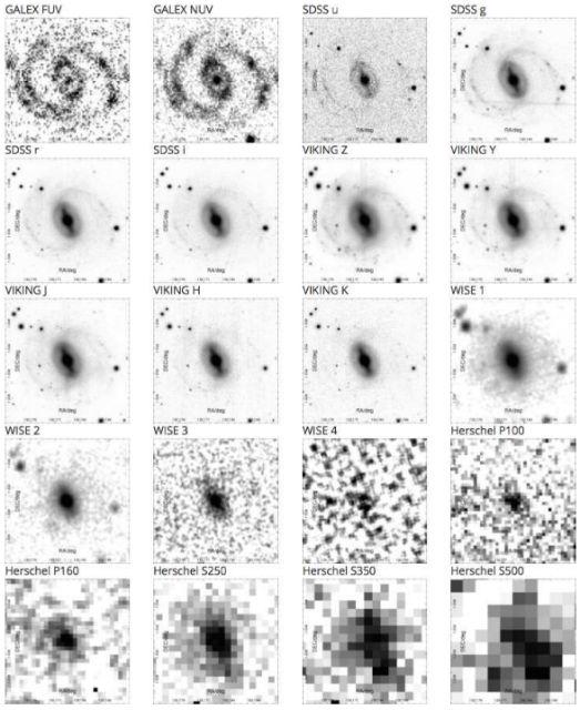 Каждая галактика изучалась на 21 частоте (длине волны) — от ультрафиолетовой до дальней инфракрасной (иллюстрация ICRAR/GAMA/ESO).