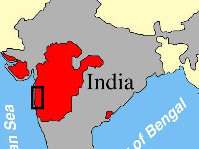 Карта вулканической активности на западе Индии 64-67 миллиона лет назад. Прямоугольником отмечено место, где были собраны пробы древней лавы для нового исследования (иллюстрация Paul Renne, Berkeley Geochronology Center & UC Berkeley).