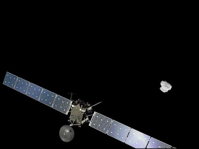 """Художественное изображение с использованием снимка кометы, сделанного аппаратом """"Розетта"""" 2 августа 2014 года с расстояния 500 км (фото ESA/ATG medialab; ESA/Rosetta/NAVCAM)."""