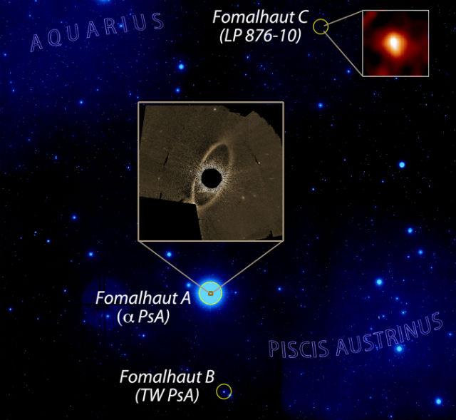 """Тогда как у звёзд Фомальгаут А и С кометные пояса есть, у их """"сестры"""" Фомальгаут В нет ни комет, ни планет, ни пылевого диска (иллюстрация Grant Kennedy, Cambridge, Paul Kalas, UC Berkeley)."""