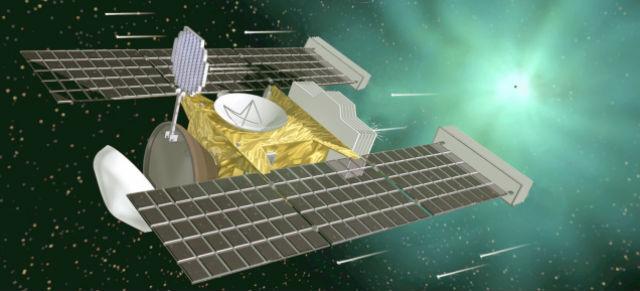 Космический аппарат Stardust ловил межзвёздные частицы, которые двигались со скоростью 15-18 тысяч километров в час (иллюстрация NASA).
