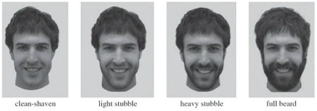 Учёные делали фотографии волонтёров при одинаковом освещении, когда они были гладко выбриты, с лёгкой щетиной (через 5 дней), с густой щетиной (10 дней) и уже с вполне отчётливой бородой (4 недели) (фото University of New South Wales).