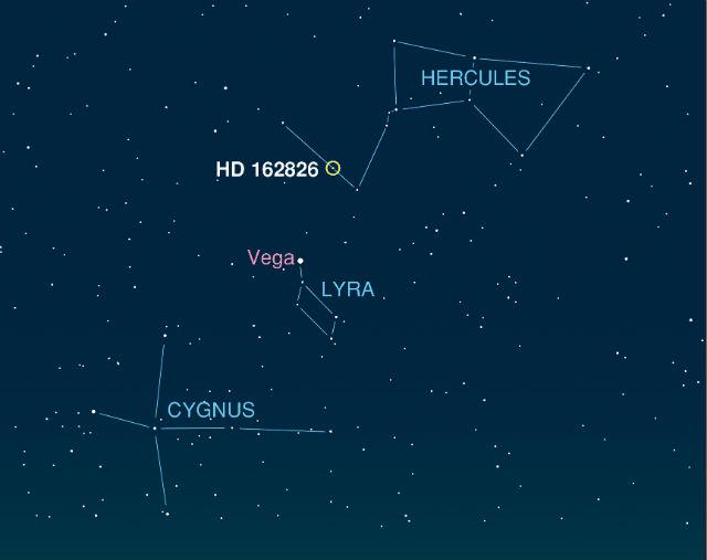 Звезда HD 162826 расположена в созвездии Геркулеса, неподалёку от яркой звезды Вега (иллюстрация Ivan Ramirez/Tim Jones/McDonald Observatory).