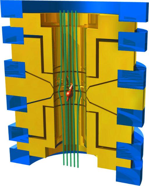 Протон в магнитной ловушке в представлении художника