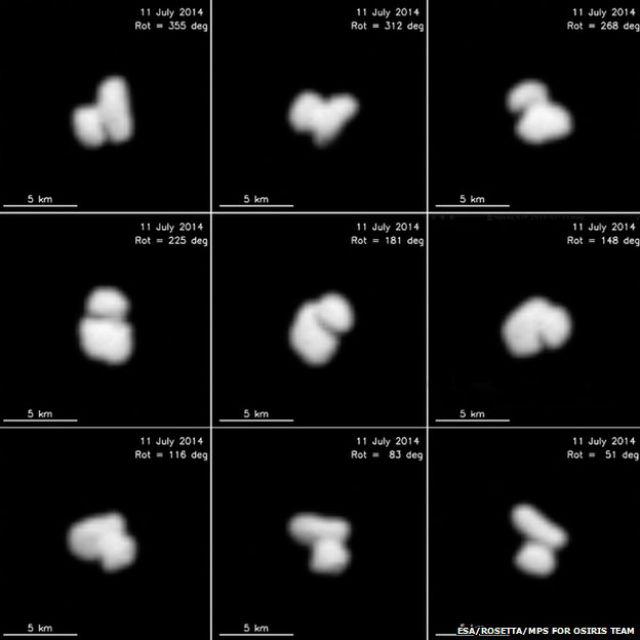 """Снимки кометы 67P/Чурюмова-Герасименко, полученные зондом """"Розетта"""" в июле 2014 года (фото ESA/Rosetta/MPS for OSIRIS team)."""