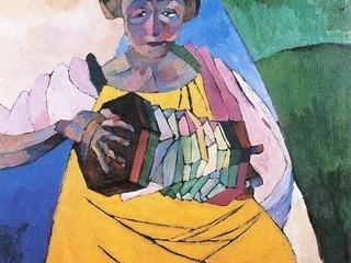 """Аристарх Лентулов """"Женщина с гармоникой"""", 1913"""