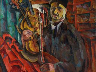 """Аристарх Лентулов """"Автопортрет со скрипкой"""", Конец 1910-х- начало 1920-х. ГТГ"""